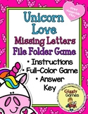 Unicorn Love Missing Letters File Folder Game