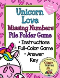 Unicorn Love Missing Numbers File Folder Game