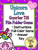Unicorn Love Quarter Till the Hour File Folder Game
