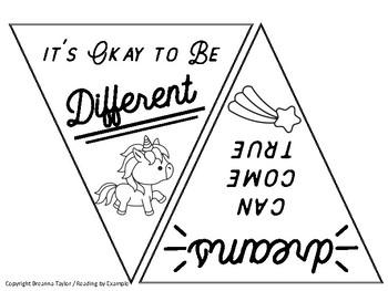 Unicorn Magical Pennant Banner - Celebrate Self-Esteem and Classroom Community