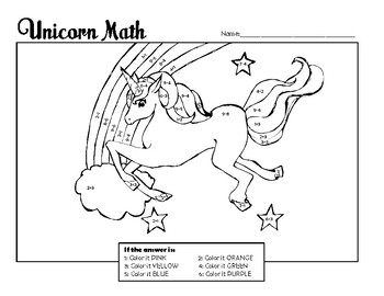 Unicorn Math Color-by-Number (Single Digit Addition and Subtraction)