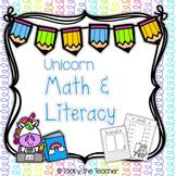 Unicorn Math & Literacy Pack | NO PREP