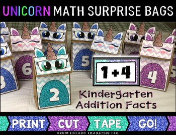Unicorn Math Surprise Bags: Addition Facts
