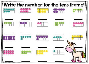Unicorn Math Writing Center Numbers 1-20 and Subtraction