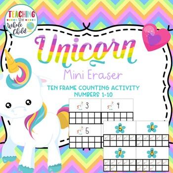 Unicorn Mini Eraser Ten Frame Counting Activity