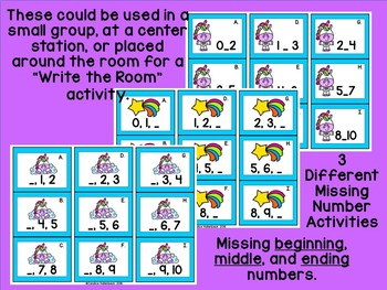 Unicorn Missing Number Math Center Activities (Numbers 0-10)