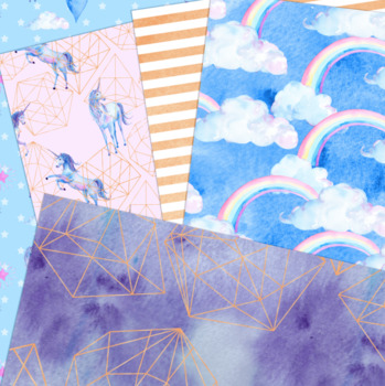 Unicorn Modern Digital Paper- Unicorn Backgrounds - 8.5 x 11, watercolor, cute
