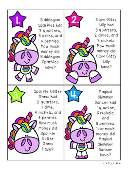 Unicorn Money Task Card Riddles (Basic Level)