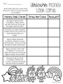 Unicorn Money Task Card Riddles (Higher Level)