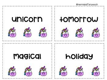 Unicorn Multisyllabic Cards