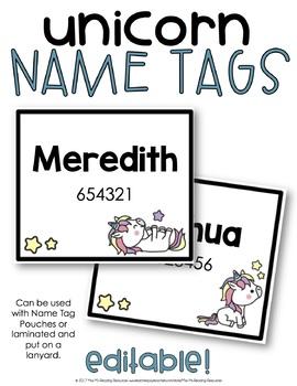 Unicorn Name Tags EDITABLE