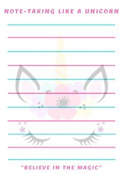 Unicorn Notebook Paper