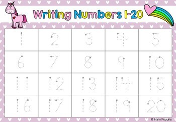 Unicorn Number Mats for Valentine's Day (1 to 20)