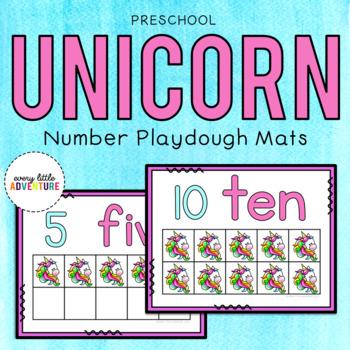 Unicorn Number Playdough Mats - Pre-K