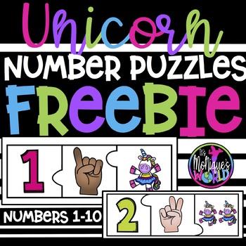 Unicorn Number Puzzle FREEBIE (1-10)
