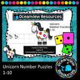 Number Puzzles for Kindergarten or Grade 1-Unicorn theme