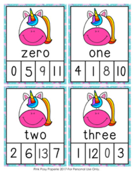 Unicorn Number Words Clip Cards