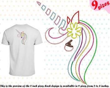 Unicorn Outline Embroidery Design cute happy girl horn cute smily 180b