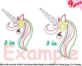 Unicorn Outline Embroidery Design  happy girl horn cute smily birthday head 180b