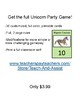 Unicorn Party Game! Free PDF Version - Primary Grades Math Addition Sum Game