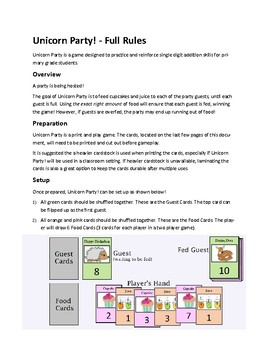 Unicorn Party Game! Full PDF Version - Primary Grades Math Addition Sum Game