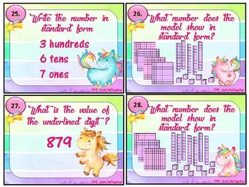 Unicorn Place Value Task Cards NBT.1.3