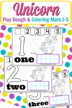 Unicorn Play Dough & Coloring Mats