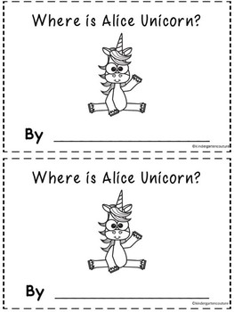 Unicorn Positional Word Booklet