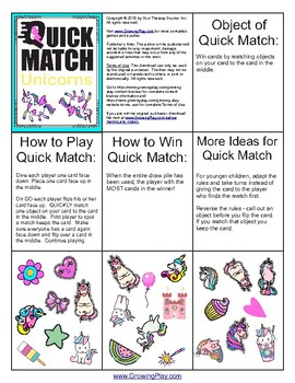 Unicorn Quick Match - FUN Visual Perceptual Game