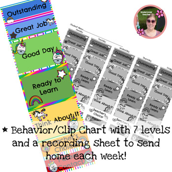 Unicorn Rainbow Behavior Chart with Home Reporting Sheets