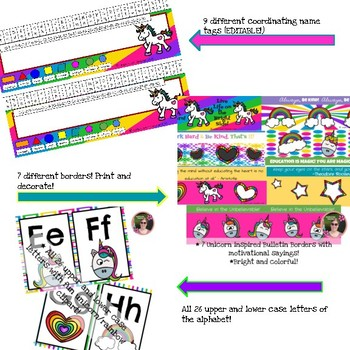 Unicorn Rainbow Classroom Decor Decorative Bundle
