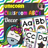 Unicorn Rainbow Print Block Letter Classroom Alphabet Decorative