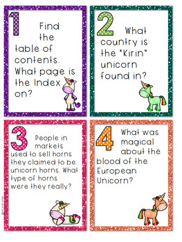Unicorn Research Task Cards - Blank Task Cards