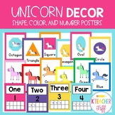 Unicorn Shape, Color, Number Posters
