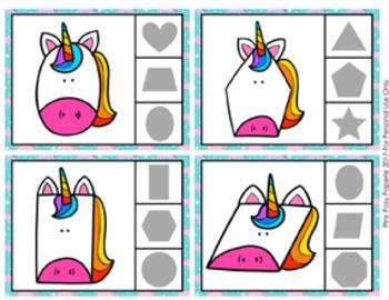 Unicorn Shapes Clip Cards