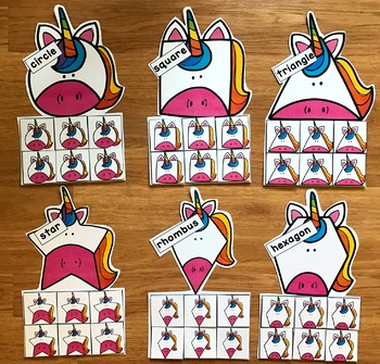 Unicorn Shapes Sorting Mats