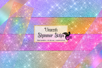 Unicorn Shimmer Strips, Rainbow Pastel Clipart overlays