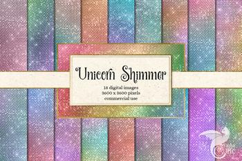 Unicorn Shimmer digital paper - pastel rainbow glitter sparkle textures
