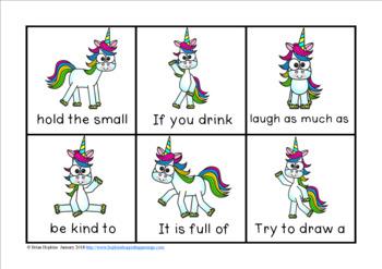 Unicorn Sight Word Fluency Phrases Race