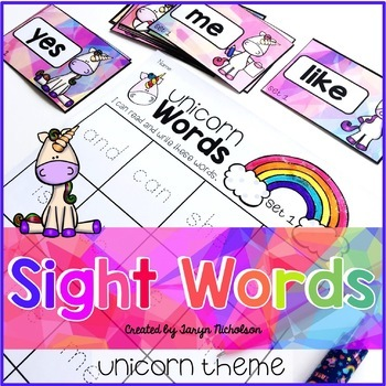 Unicorn Sight Words and Spelling Practice (editable)