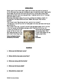 Unicorn Story & Comprehension Activity