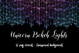 Unicorn String Lights Clipart, Unicorn Bokeh Lights, Rainbow Photo Overlays