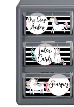 Unicorn Stripes Teacher Toolbox Labels