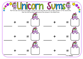 Unicorn Sums- Addition, Subtraction, Multiplication & Division