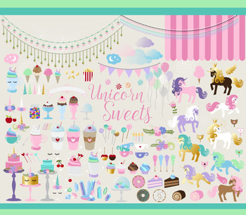 Unicorn Sweets Vector Clipart