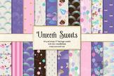 Unicorn Sweets digital paper, seamless patterns, pink birt