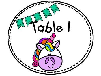 Unicorn Table Numbers