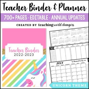 Unicorn Teacher Binder