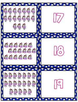 Unicorn Teen Number Matching Cards