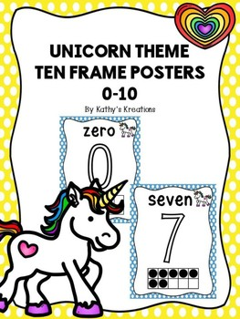 Unicorn Ten Frame Number Posters